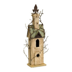 IMAX CORPORATION - Carthage Birdhouse with Steeple - Weathered wooden birdhouse with fleur de lis topped steeple and green roof. Find home furnishings, decor, and accessories from Posh Urban Furnishings. Beautiful, stylish furniture and decor that will brighten your home instantly. Shop modern, traditional, vintage, and world designs.