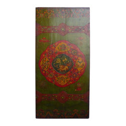 Golden Lotus - Tibetan Canvas Fu Dog Treasure Wood Door Panel - This is an old door painted with artistic Tibetan graphic for modern decoration. The theme is grass green base color and graphic of Fu Dog and treasure items is at the center.