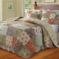 None - Blooming Prairie Cotton Quilted Pillow Shams (Set of 2) - A beautiful quilted floral pattern adorns these cotton pillow shams. This set includes two comfortable shams.