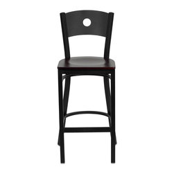 """Flash Furniture - HERCULES Series Black Circle Back Metal Restaurant Bar Stool - Mahogany Wood Sea - This heavy duty commercial metal bar stool is ideal for Restaurants, Hotels, Bars, Pool Halls, Lounges, and in the Home. The lightweight design of the stool makes it easy to move around. The tubular foot rest not only supports your feet, but acts as an additional reinforcement that helps secure the legs. You will not regret the purchase of this bar stool that is sure to complement any environment to fill the void in your decor.; Heavy Duty Restaurant Bar Stool; Circle Back Design; .75"""" Thick Plywood Seat; Mahogany Finished Wood Seat; 18 Gauge Steel Frame; Welded Joint Assembly; Two Curved Support Bars; Foot Rest Rung; Black Powder Coated Frame Finish; Plastic Floor Glides; Designed for Commercial Use; Suitable for Home Use; Assembly Required: Yes; Country of Origin: China; Warranty: 2 Years; Weight: 14 lbs.; Dimensions: 42.5""""H x 19""""W x 19.5""""D"""