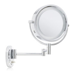 """Jerdon HL65C 8"""" Two-Sided Swivel Halo Light Wall Mount Mirror, 5x Magnification - The Jerdon HL65C 8-Inch Two-Sided Swivel Halo Lighted Wall Mount Mirror is used in luxury hotels and day spas because of its convenience, sleek look, lighting and magnification. This fog free, two-sided circular mirror has an 8-inch diameter and features a smooth 360-degree swivel design that provides 1x and 5x magnification options to make sure every detail of your hair and makeup are in place. The halo light design around the perimeter of the mirror and smooth rotation adjust to all angles for a dynamic point of view. This item can use the JPT25W replacement bulb (sold separately). An on/off rotary knob on the oval base will activate the halo lighting when you need it. The HL65C has a mounting bracket that measures 4-inches by 5-inches and extends 14-inches from the wall and can be easily moved around, while still being firm enough to hold for odd angles. This mirror has an attractive chrome finish that protects against moisture and condensation and is designed to be wall mounted. This item comes complete with mounting hardware. The Jerdon HL65C 8-Inch Two-Sided Swivel Halo Lighted Wall Mount Mirror comes with a 1-year limited warranty that protects against any defects due to faulty material or workmanship. The Jerdon Style company has earned a reputation for excellence in the beauty industry with its broad range of quality cosmetic mirrors (including vanity, lighted and wall mount mirrors), hair dryers and other styling appliances. Since 1977, the Jerdon brand has been a leading provider to the finest homes, hotels, resorts, cruise ships and spas worldwide. The company continues to build its position in the market by both improving its existing line with the latest technology, developing new products and expanding its offerings to meet the growing needs of its customers."""