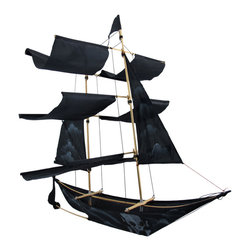 Black Pirate Ship Decorative Wall Hanging Kite - This amazing kite doubles as a decorative wall hanging, and features a black pirate ship with a skull and crossbones painted on the side. Crafted from nylon and bamboo, it measures 26 inches long, 27 inches tall, and 20 inches wide. Some assembly is required, and step by step instructions are included to ensure success. It makes a wonderful gift, or adds a unique accent to your home decor. NOTE: Additional line is required if you intend to fly this item as a kite.