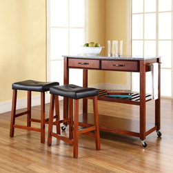 Crosley Furniture - Kitchen Cart with Cherry Upholstered Saddle S - Includes two 24 in. cherry upholstered saddle stools. Solid granite top. Adjustable/removable shelf. Towel bar. Two deep drawers. Beautiful raised panel drawer fronts. Brushed Nickel hardware. Warranty: 90 days. Made from solid hardwood, wood veneers and solid granite. Hand rubbed, multi-step finish. Classic cherry finish. Assembly required. 42 in. W x 18 in. D x 36 in. H (136 lbs.)Mobile kitchen cart is designed for longevity. The handsome raised panel drawer fronts provide the ultimate in style to dress up any culinary space. Remove the shelf completely to allow for storing larger objects. The heavy duty casters provide the ultimate in mobility. When the cabinet is where you want it, simply engage the locking casters to prevent movement. Style, function, and quality make this mobile solution a wise addition to your home.