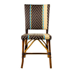 Brown, Cream, Azure & Gold Mediterranean Bistro Square Back Stripe Chair - These rattan-framed stools are part of the iconic French bistros of Le Midi, or the south of France. Hand-woven and artisan crafted, these French style bistro bar stools in bright synthetic material, will add a pop of color to your outdoor or indoor space.
