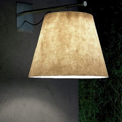"Anton Angeli - Miami Outdoor wall sconce - Product description:  The Miami Outdoor wall sconce from Anton Angeli has been designed by Giordana Arcesilai in 2007. This wall mounted luminaire is perfect for fluorescent lighting. The Miami is a project that born from the will to propose to the public an outdoor lighting fixture of a big dimensions to bring outside the atmosphere of the indoor lighting. Decisive is the choice of the lamp shade as light shade. It is a reassuring and comfortable form to light up the green areas, the table on the terrace, the evenings in the garden. The essential and linear structure's drawing emphatise the white resin glass shade, planed and produced to be waterproof. Hooked at one point the shade is rocking and take always position parallel to the floor. The inox structure permits through different placing of the single structure's parts to obtain different heights and depths of the shade. Structure: satined-inox. Shade: resin glass in warm white with a diameter to 50 cm.  Details:                                              Manufacturer:                                          Anton Angeli                                                              Designer:                                          Jan Van Lierde, 2003                                                              Made in:                                          Italy                                                              Dimensions:                                          Shade Height: 15"" (38 cm) Diameter: 19.7"" (50 cm)                                                               Light bulb:                                          1 x 25W fluorescent                                                              Material:                                          Satined Inox, Resin, Glass"