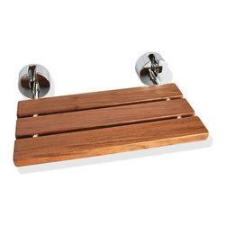 SteamSpa - D-7 Teak Wood Folding Shower Seat Wall Mounted Bench - Chrome by SteamSpa - DESCRIPTION