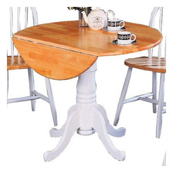 Coaster - Damen Round Drop Leaf Dining Table - Casual style. Pedestal base. Smooth rounded edges and turned legs and bases. Made from solid wood. Made in Malaysia. Assembly required. 40 in. Dia.. WarrantyThis pretty dining table will add a touch of charm to your casual dining room. Perfect for a breakfast nook, this table has a smooth round top with a drop leaf for convenient everyday use. The elegant empire pedestal base has enough character to warm up your room, in a lovely two tone Natural and White finish. Pair with chairs from this collection for a unique style in your casual dining space. The Damen collection offers a variety of casual dining options to create a warm and charming dining room in your home. The Damen collection is a great option if you are looking for Casual furniture in the area.