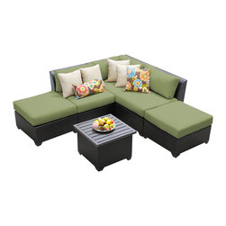 TKC - Bermuda 6 Piece Outdoor Wicker Patio Furniture Set 06f 2 for 1 Cover Set - Sink into the plush Cushions comfortably fitted between our Bermuda's curved arms. Espresso-colored all-weather rattan is expertly hand woven, wrapping every inch of the durable aluminum frame. Sturdy rust-resistant powder coated feet are color matched to Table Tops. Thick all-weather Cushions are enveloped in 2-year fade resistant acrylic upholstery.