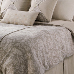 Rizzy Rugs - Venezia Khaki King Duvet with Poly Insert Bed Set - - Construction: Printed and Piecing details with Cording and Embroidery. Button Closures  -  Dazzling and refined, this duvet ensemble in shades of khaki and beige features a subtle and elegant leaf pattern, embellished with embroidery and button details. The divine combination of texture and tone on tone color make a classically polished statement for any interior.  - Care and Cleaning: Machine wash separately, hand wash accent pillow  - Includes: Duvet, 2 King Shams, 3 Euro Shams, 3 Decorative Pillows, and Bed Skirt Rizzy Rugs - BT0887 K