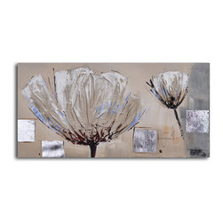Paper embossed poppy Hand Painted Canvas Art - These three-dimensional poppies capture the delicateness of poppies. The neutral palette complements any decor. Don't you want to reach out and touch them?