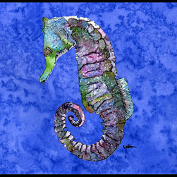 Caroline's Treasures - Seahorse Indoor Or Outdoor Mat 18X27 8639Mat - Seahorse Indoor or Outdoor Mat 18x27 8639MAT INDOOR / OUTDOOR FLOOR MAT 18 inch by 27 inch Action Back Felt Floor Mat / Carpet / Rug that is Made and Printed in the USA. A Black binding tape is sewn around the mat for durability and to nicely frame the artwork. The mat has been permenantly dyed for moderate traffic and can be placed inside or out (only under a covered space). Durable and fade resistant. The back of the mat is rubber backed to keep the mat from slipping on a smooth floor. Wash with soap & water.