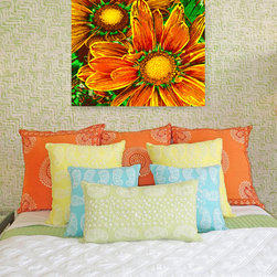 Pop Daisies 8 - Add a pop of color with this colorful bold print of brightly lit orange pop daisies.