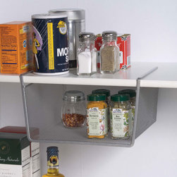 "Silver Mesh Under Shelf Storage Basket - Small - Utilize the unused storage space in any cabinet or closet with a storage basket. Slides onto any shelf up to 1"" thick. Usable storage space measures 9 1/2"" wide x 5"" high x 9 1/2"" deep."