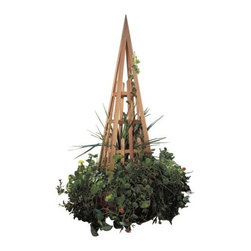 Fifthroom - Red Cedar Obelisk - Our Obelisk makes a majestic monument to your mastery of soil and seed.  It will be a peerless centerpiece for your garden when engulfed in an entourage of your carefully cultivated climbers.  Since it's constructed from decay-resistant, genuine red cedar, you will be able to watch your plants make their journey for years to come.  When their trek is complete, they'll stand tall – 7 feet – and stick out like a green thumb.