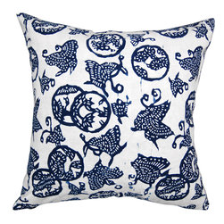 """Luru Home - 20"""" x 20"""" American Lady Pillow - Luru Home - LuRu Home works with Artisans along China's eastern seaboard to produce indigo hand - dyed textiles. Chinese have practiced Nankeen indigo hand - dying, a sibling of Japanese Shibori, for over 3,000 years. The process remains largely preserved despite the idustrialization of the textile market."""