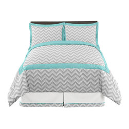 Sweet Jojo Designs - Gray Turquoise ZigZag Chevron Full/Queen Bedding Set - Gray and Turquoise Zig Zag 3 Piece Full/Queen Bedding Set will help you create an incredible room for your child. This stylish designer bedding set uses a sensational Sweet Jojo Designs exclusive Zig Zag print. This collection uses the stylish colors of muted gray, turquoise and crisp white. The design uses 100% cotton fabrics that are machine washable for easy care. This wonderful set will fit full and queen size beds. Full/Queen Set Includes: Lightweight Comforter and 2 Pillow Shams.Comforter: 86 in. x 86 in., 2 Standard Shams: 20 in. x 26 in.