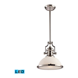 Elk Lighting - Landmark Lighting Chadwick 66113-1-LED 1-Light Pendant in Polished Nickel - LED - 66113-1-LED 1-Light Pendant in Polished Nickel - LED Offering Up To 800 Lumens belongs to Chadwick Collection by Landmark Lighting The Chadwick Collection Reflects The Beauty Of Hand-Turned Craftsmanship Inspired By Early 20Th Century Lighting And Antiques That Have Surpassed The Test Of Time. This Robust Collection Features Detailing Appropriate For Classic Or Transitional decors. White Glass Compliments The Various Finish Options Including Polished Nickel, Satin Nickel, And Antique Copper. Amber Glass Enriches The OiLED Bronze Finish. - LED Offering Up To 800 Lumens (60 Watt Equivalent) With Full Range Dimming. Includes An Easily Replaceable LED Bulb (120V). Pendant (1)