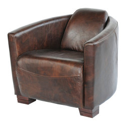 Four Hands - Sinclair Club Chair - Welcome to the style club. This bench-built armchair has a slightly art deco, slightly modern feel, with a curvy barrel back that wraps you in comfort and rich, top-grain leather. Membership in this club certainly has its rewards.