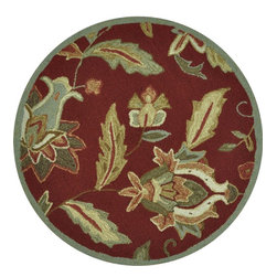 Loloi - Country & Floral Summerton Round 3' Round Red Area Rug - The Summerton area rug Collection offers an affordable assortment of Country & Floral stylings. Summerton features a blend of natural Red color. Hand Hooked of 100% Polyester the Summerton Collection is an intriguing compliment to any decor.