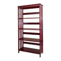 ORE International - Espresso Finish Mission Style Slatted-Side Bo - Classic Mission inspired design elements highlight this durable bookcase, a fashionable and functional addition to any room of your home. Featuring four fixed shelves, the unit features slatted side panels and is constructed of rubberwood in a rich espresso stain. Mission bookcase. Open sides and back. Wood legs. Wipe clean with dry cloth. Made from Rubberwood. Painted espresso finish. Assembly required. 30 in. W x 12.5 in. D x 60 in. H (41 lbs.)