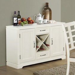 Monarch Specialties - Monarch Specialties Server w/ Wine Rack in Pearl White - Bring fashion to your dining experience with this casual, contemporary, pearl white dining server. With ample hidden storage this server also provides wine bottle storage and twin drawer compartments. Perfect for entertaining and dining with guests.