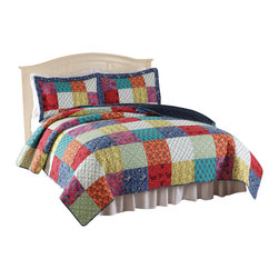 Pem America - Halifax Full / Queen Quilt with 2 Shams - Classic bright printed in a machine stitched quilt of 100% cotton face and filling. Includes 1 full / queen size quilt and 2 pillow shams. 100% cotton face cloth with 94% cotton / 6% other fiber fill.  Prewashed for softness. Machine washable.