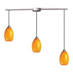 Elk Lighting - Elk Lighting Mulinello Modern / Contemporary Pendant Light X-NC-L3-715 - Elk Lighting presents the Mulinello Modern/Contemporary Pendant Light. It features a Satin Finished canopy and descending decorative shades. The shade comes in 7 colors and is set in descending lengths  Each shade is hand-blown by skilled craftsman making each piece an original masterpiece.