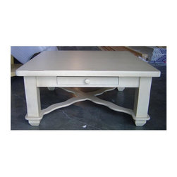 """British Traditions - 1 Drawer Square Coffee Table w Large Block Legs (Antique White) - Finish: Antique White. Each finish is hand painted and actual finish color may differ from those show for this product. Square coffee table. 1 Drawer. """"X"""" molding at bottom of feet. Large block legs. Minimal assembly required. 41.5 in. L x 41.5 in. W x 19 in. H (89 lbs.)The County Derry coffee table is a simple country style with large legs and one drawer."""