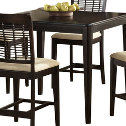 Hillsdale Furniture - Hillsdale Glenmary/Bayberry Square 42x42 Counter Height Table - Finished in a dark cherry or classic oak, our Glenmary collection combines in the chair the traditional elements of cane and a lattice work design to create an effect that is both timeless and elegant. The chairs and stools have a cream colored fabric seat. The matching tables, available in both round and rectangle, each claim their own fabulous features. The round has a simple gently carved pedestal base. Made from hardwoods, this group is composed of both solids and climate controlled wood composites to prevent cracking and splitting from changes in temperature or humidity.