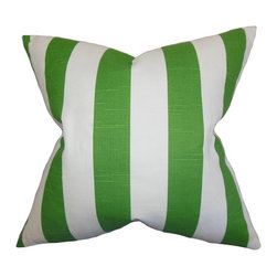"""The Pillow Collection - Acantha Stripes Pillow Green 20"""" x 20"""" - Get ready to turn up your decor style in time for the new year with this eye-catching throw pillow. This accent pillow features a classic stripe pattern in shades of green and white. This toss pillow is a definite stand out no matter where you decorate it. Constructed using the finest 100% cotton material, this 20"""" pillow is perfect for your sofa, bed or chair. Hidden zipper closure for easy cover removal.  Knife edge finish on all four sides.  Reversible pillow with the same fabric on the back side.  Spot cleaning suggested."""