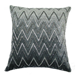Amani Stripe Pillow, Grey Velvet - Amani Stripe pillow.