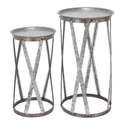 Woodland Imports - Set 2 Pedestals Round Tray Top Cage Style Base Home Patio Garden Decor 56196 - Traditional set of 2 galvanized metal pedestals with round tray top and cage style base home patio garden decor