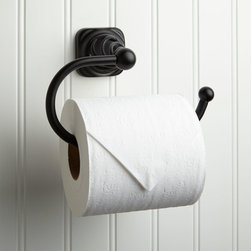Gilmer Toilet Paper Holder - The Gilmer Toilet Paper Holder features unique styling and an open-ended design that makes changing rolls of tissue easier than with standard holders.
