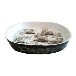 Pre-owned Danish Mid-Century Bowl - You might have trouble covering the feisty frond print of this stoneware bowl by Nils Johan Thorvald Thorsson, designed for Royal Copenhagen. If that's the case, use it for holding small bits and bobs! Signed and stamped on back.