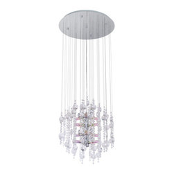 Eglo - Eglo 89005A 12 Light 4 Tier Chandelier Alexandria Collection - (Bulbs I - Eglo 89005A Alexandria 12 Light 4 Tier ChandelierStunning crystal decorations adorn this beautiful chandelier from the Alexandria Collection. Featuring pink shades and hardware with a Chrome Finish , this fixture will add an elegant statement to any decor.Eglo 89005A Features: