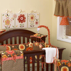 Cotton Tale Designs - Peggy Sue Decor Kit - A quality baby bedding set is essential in making your nursery warm and inviting. All Cotton Tale patterns are made using the finest quality materials and are uniquely designed to create an elegant and sophisticated nursery. The Peggy Sue Decor Kit includes Wall Art, Mobile, and Standard Lamp. Peggy Sue Lamp and Shade measures 19 inches in height. Shade is red trim fabric with bias finish. The measurements are 8 x 9 x 4. Manufacturer recommends no more than a 60 watt bulb. Spot clean only. Peggy Sue Musical Mobile with bright retro flowers that dance around to Brahms Lullaby. Wind up mechanism. Canopy in floral with red cord and arm cover. Mobiles are not toys, remove from crib when baby starts to sit up unassisted or pulls them self up. Mobile measures 12 x 17 x 21. Peggy Sue Wall Art has 3 pieces. Each piece is 12 x 14. Hand painted on natural canvas with ribbon ties. This art can be used together or separately. Made in the USA. Dust clean only.; Weight: 10 lbs