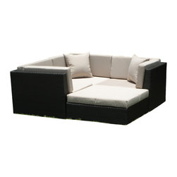 MangoHome - Outdoor Patio Wicker Furniture Sofa Sectional 4pc Resin Couch Set - Outdoor Patio Wicker Furniture Sofa Sectional 4pc Resin Couch Set