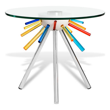 Zuri Furniture - Retro Clear Glass End Table with Metal Base - Who says an end table can't create a buzz? The Retro End Table is a series of multicolored cylinders finished with a simple chrome base and round tempered glass table top. The finished product creates the ultimate unique statement piece perfect for home or office.