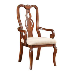 """Coaster - Beamont Arm Chair - Set of 2 - This elegant dining collection has the look of treasured antiques. The cherry finish is complemented by a beautiful tan arabesque design upholstery ornamenting the arm and side chairs to create a classic Queen Anne style. This collection offers plenty of open display space and storage space in the lovely matching server. Collection: Beamont; Style: Traditional; Finish/Color: Cherry; Room Size: Large; Upholstered Cushioned Seating; Dimensions: 24.00""""L x 24.00""""W x 42.00""""H, Seat Height: 19.00"""", Seat Depth: 18.00"""""""