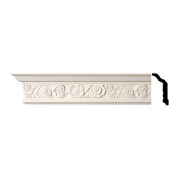 Renovators Supply - Cornice White Urethane Colman - Cornice - Ornate   11593 - Cornices: Made of virtually indestructible high-density urethane our cornice is cast from steel molds guaranteeing the highest quality on the market. High-precision steel molds provide a higher quality pattern consistency, design clarity and overall strength and durability. Lightweight they are easily installed with no special skills. Unlike plaster or wood urethane is resistant to cracking, warping or peeling.  Factory-primed our cornice is ready for finishing.  Measures 4 inch H x 96 inch L.