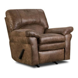 Chelsea Home - Rocker Recliner - Pull bar reclining mechanism. Shogun mocha cover. Medium seating comfort. Two seat cushions attached. Three back cushions attached. 1.8 Dacron wrapped foam cores with outside padding on arms and back for added comfort. Constructed with sinuous springs to provide no sag seating. Fabric contains: 95% polyester, 5% pu. Nailed, stapled and corner blocked provide strength and durability. Made from solid hardwoods and plywoods. Made in USA. No assembly required. 42 in. W x 40 in. D x 42 in. H (100 lbs.)