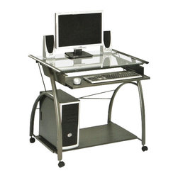 "Acme - Vincent Metal and Glass Computer Desk with Clear Glass Top - Vincent metal and glass computer desk with clear glass top and slide out keyboard tray. Measures 32"" x 24"" x 30""H. Some assembly required."