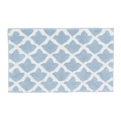 "Marlo Jacquard Bath Rug, 21 x 34"", Fresca Blue - A Moroccan tile motif lets our rug mix easily with both patterned and solid towels. It's loomed from cotton for softness, and is slip resistant. 21"" wide x 34"" long Made of 100% cotton. Yarn dyed for vibrant, lasting color. Backed with cotton canvas adhered with synthetic latex. Machine wash. Imported."