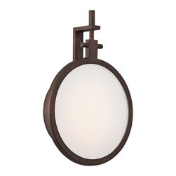 """George Kovacs - George Kovacs Loupe 9 1/2"""" High Bronze LED Wall Sconce - The Loupe Collection blends classicism with modernity for refreshing style and sophistication. Finished in a rich copper bronze patina with clear outer and white inner glass this wall sconce is a great addition to bathrooms and hallways. From George Kovacs. LED wall sconce. Copper bronze patina finish. Clear outer glass white inner glass. Includes 30 LED array (12 total watts). 3000K color temperature. Light output is 290 lumens comparable to a 35 watt incandescent bulb. 9 1/2"""" high. 7"""" wide. Extends 2"""" from the wall.  LED wall sconce.  Copper bronze patina finish.  Clear outer glass white inner glass.  A George Kovacs lighting design.  Includes 30 LED array (12 total watts).  3000K color temperature.  Light output is 290 lumens comparable to a 35 watt incandescent bulb.  Dimmable using an electronic low voltage dimmer or an LED rated dimmer.  9 1/2"""" high.  7"""" wide.  Extends 2"""" from the wall."""