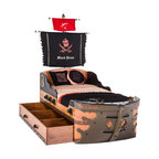 "Cilek - Captain's Bed with mattress, With Pull-Out Storage - Do you have what it takes to lead your crew into danger and never ending adventures on the ""Black Pirate"" ship? Are you ready to be the Captain? Then get ready to have your own ""Black Pirate"" Ship Bed. At day sail the seven seas in search of gold and loot and at night sleep as a captain aboard your own ""Black Pirate"" Ship Bed. You can almost smell the ocean breeze when you sleep aboard this bed. Double the ships capacity to hold more pirates or expand it to hold more treasure. The choice is yours!"