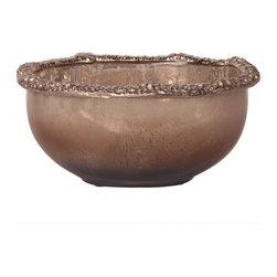 Howard Elliott - Howard Elliott Matte Nickel Aluminum Glass Bowl - Large - Large matte nickel hammered aluminum glass bowl