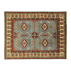 Manhattan Rugs - New Authentic Blue Super Kazak Rug 8' X 10' Oriental Hand Knotted Wool H3345 - The areas known as kazakhstan, chechnya and shirvan, respectively, are situated north of iran and afghanistan and to the east of the caspian sea and are all new soviet republics. these rugs are woven by settled armenians as well as nomadic kurds, georgians, azerbaijanis and lurs.  many of the people of turkoman origin fled to pakistan when the russians invaded afghanistan and most of the rugs are woven close to peshawar on the afghan-pakistan border. there are many design influences and consequently a large variety of motifs of various medallions, diamonds, latch-hooked zig-zags and other geometric shapes. however, it is the wonderful colors used with rich reds, blues, yellows and greens which make them stand out from other rugs. the ability of the caucasian weaver to use dramatic colors and patterns is unequalled in the rug weaving world.  these rugs are very hard-wearing, as well as being very collectible.