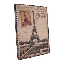 Zeckos - Vintage Eiffel Tower Postage Stamp Paris France Canvas - This printed canvas features an enlarged image of a vintage postage stamp from Paris, France with the Eiffel tower and a 1948 postmark. It measures 15 inches tall, 10 3/8 inches wide, 5/8 of an inch wide and mounts to the wall with a single nail by the picture hanger on the back of the wooden frame. This piece is a great addition to French themed decor, and makes a great gift for the worldly traveler.