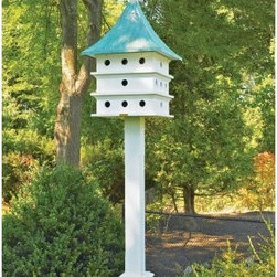 Lazy Hill Farms Ultimate Purple Martin House - Transform your garden a Purple Martin paradise by gracing your space with the Lazy Hill Farms Ultimate Purple Martin House. This generously sized bird house is constructed of solid cellular vinyl in classic white with a blue verde copper roof. It looks and feels yet authentic wood yet requires little maintenance and has finger joints on the corners. The weathered copper roof comes off for easy cleaning and this bird house comes complete with a metal plate for post mounting and four decorative brackets. About Lazy Hill Farm Designs Lazy Hill Farm Designs is a leader in garden and birding accessories. They are known for turning exquisite designs into exceptional quality garden accessories. All Lazy Hill Farm products are made of solid cellular vinyl that looks and feels like genuine wood yet requires no maintenance. All the roofs are removable for easy cleaning and each one is handcrafted in America. These are among the finest garden accessories on the market.