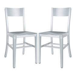 LexMod - Anzio Style Dining Chair Set of 2 - Cafe-inspired aluminum design with a timeless appeal. Make yourself a space where time stands still.